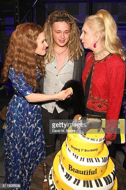 "Cassidy Janson, Luke Friend and Lady Colin Campbell attend the 1st Birthday Gala Performance of ""Beautiful: The Carole King Musical"" at The Aldwych..."