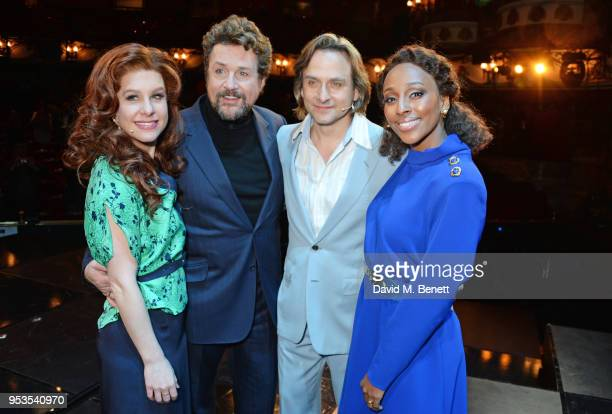 Cassidy Janson Michael Ball Tim Howar and Alexandra Burke pose onstage during the press night performance of 'Chess' at The London Coliseum on May 1...