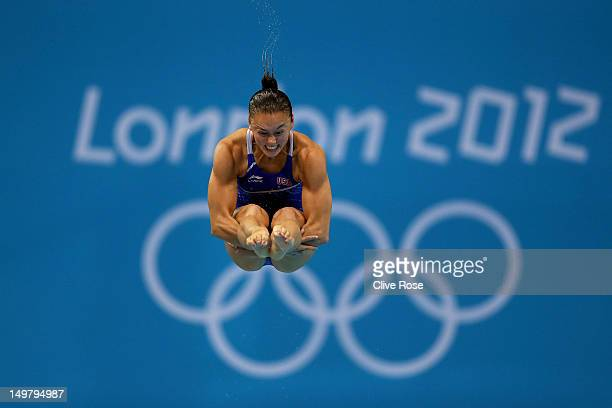Cassidy Krug of the United States competes in the Women's 3m Springboard Diving Semifinal on Day 8 of the London 2012 Olympic Games at the Aquatics...