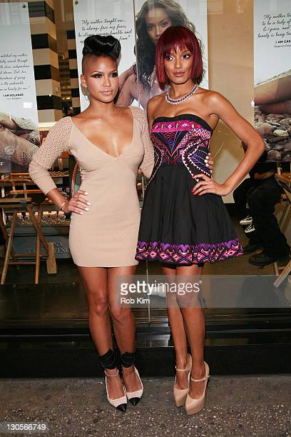 Cassie and Selita Ebanks attend the Carol's Daughter Spokesbeauty Monoi Repairing Collection Launch at Sephora on May 24 2011 in New York City