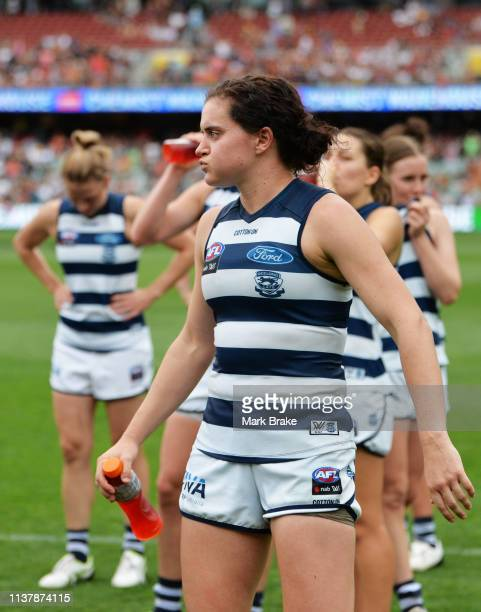 Cassie Blakeway of the Cats dejected after losing the AFLW Preliminary Final match between the Adelaide Crows and thew Geelong Cats at Adelaide Oval...