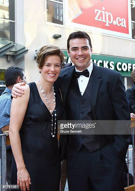 Cassie Campbell and Brad Pascall arrive for the 2008 NHL Awards at the Elgin Theatre on June 12 2008 in Toronto Ontario Canada