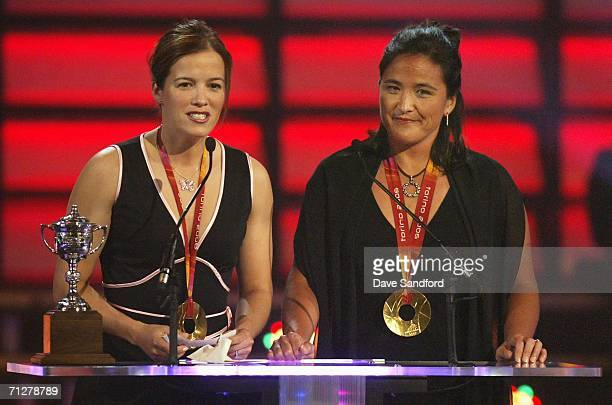 Cassie Campbell and Vicky Sunohara of the Canadian women's ice hockey gold medal team present the award for the Lady Byng Trophy at the the NHL TV...