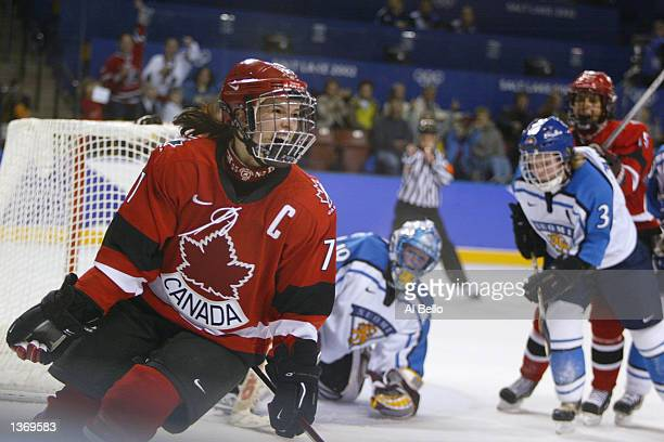 Cassie Campbell of Canada celebrates shooting the final goal over Finland during the Salt Lake City Winter Olympic Games on February 17 2002 at the E...