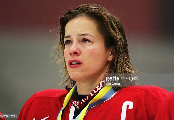 Cassie Campbell of team Canada cries during the US national anthem after team USA defeated Canada in a shootout in the IIHF World Women's...