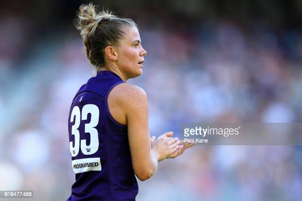 Cassie Davidson of the Dockers looks on during the round two AFLW match between the Fremantle Dockers and the Collingwood Magpies at Optus Stadium on...