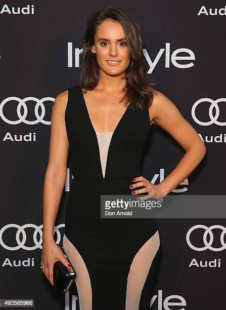 Cassie Howarth arrives ahead of the InStyle and Audi Man of Style Awards 2015 on October 14 2015 in Sydney Australia