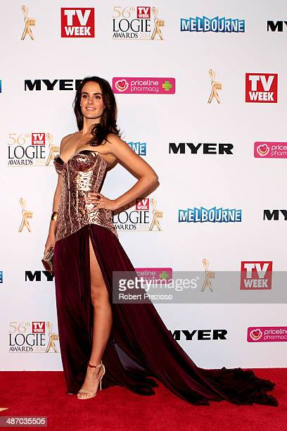 Cassie Howarth arrives at the 2014 Logie Awards at Crown Palladium on April 27 2014 in Melbourne Australia