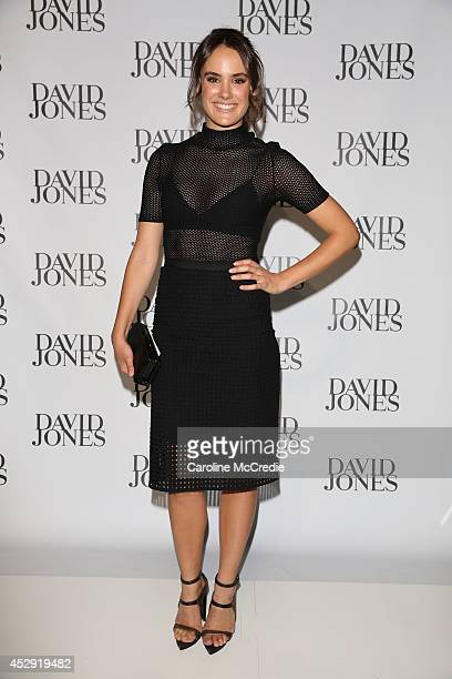 Cassie Howarth arrives at the David Jones Spring/Summer 2014 Collection Launch at David Jones Elizabeth Street Store on July 30 2014 in Sydney...