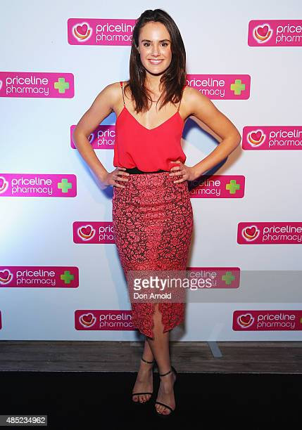 Cassie Howarth poses at the Priceline Pharmacy Festival of Beauty Launch at Doltone House on August 26 2015 in Sydney Australia