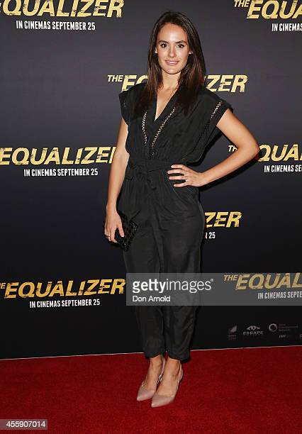 Cassie Howarth poses on the red carpet at The Equalizer Sydney Premiere at Event Cinemas George Street onSeptember 22 2014 in Sydney Australia