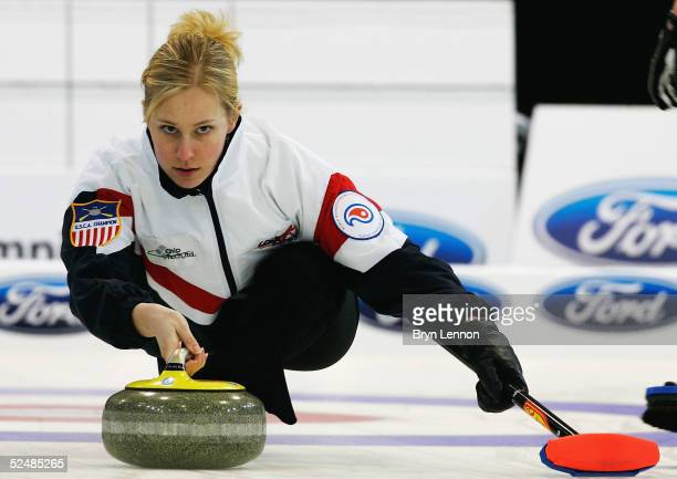 Cassie Johnson of the USA in action during the World Women's Curling Championship final between USA and Sweden at the Lagoon Leisure Centre in...