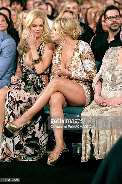 Cassie McConnell and Miranda Lambert in the audience at the 47th Annual Academy Of Country Music Awards held at the MGM Grand Garden Arena on April 1...