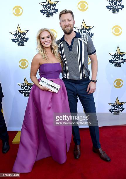 Cassie McConnell and recording artist Charles Kelley of music group Lady Antebellum attend the 50th Academy of Country Music Awards at ATT Stadium on...