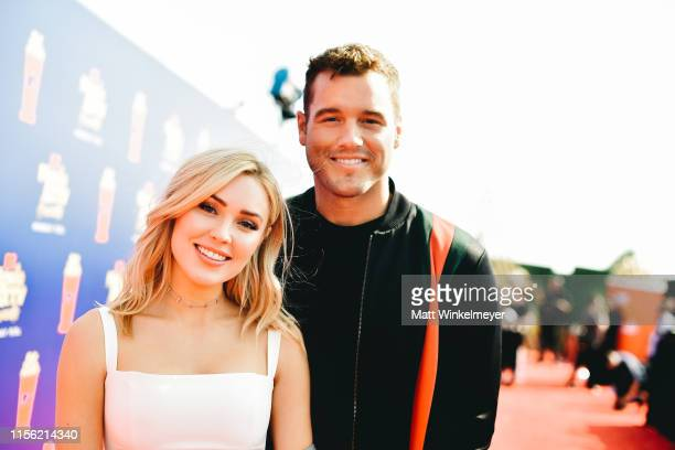 Cassie Randolph and Colton Underwood attend the 2019 MTV Movie and TV Awards at Barker Hangar on June 15 2019 in Santa Monica California