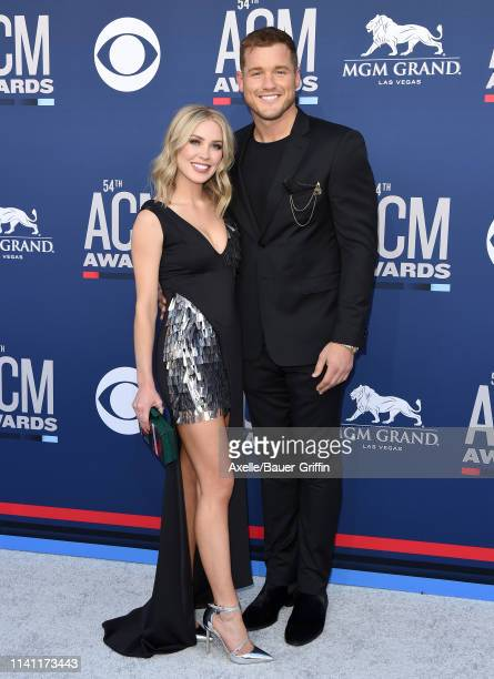 Cassie Randolph and Colton Underwood attend the 54th Academy of Country Music Awards at MGM Grand Garden Arena on April 07 2019 in Las Vegas Nevada
