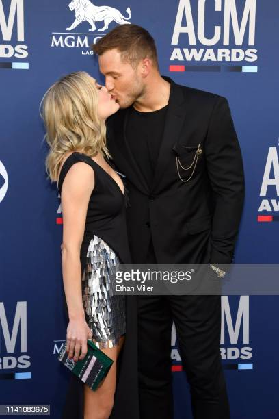 Cassie Randolph and Colton Underwood attends the 54th Academy Of Country Music Awards at MGM Grand Hotel Casino on April 07 2019 in Las Vegas Nevada