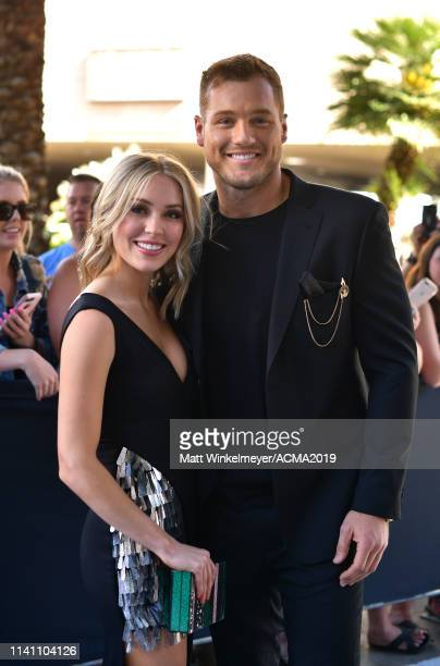 Cassie Randolph and Colton Underwood attends the 54th Academy Of Country Music Awards at MGM Grand Garden Arena on April 07 2019 in Las Vegas Nevada