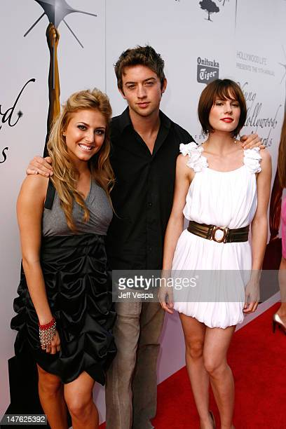 Cassie Scerbo, Johnny Pacar and Chelsea Hobbs arrive at Hollywood Life's 11th Annual Young Hollywood Awards held at The Eli and Edythe Broad Stage on...