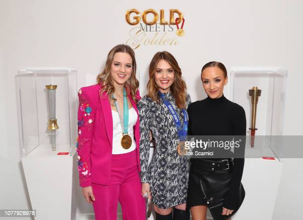 Cassie Sharpe Amy Purdy and Nastia Liukin attend The 6th Annual 'Gold Meets Golden' Brunch hosted by Nicole Kidman and Nadia Comaneci and presented...