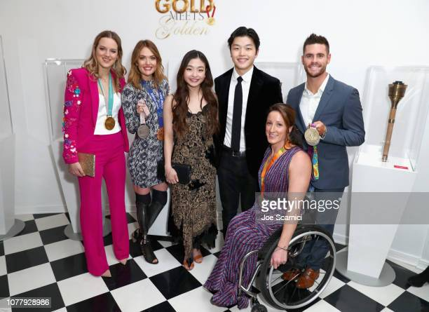 Cassie Sharpe Amy Purdy Maia Shibutani Alex Shibutani Tatyana McFadden and David Boudia attend The 6th Annual 'Gold Meets Golden' Brunch hosted by...