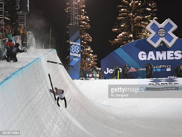 Cassie Sharpe crashes during the women's halfpipe final X Games at Buttermilk Mountain in Aspen January 27 2017