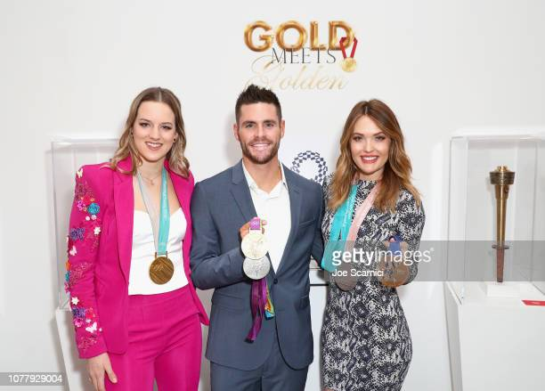 Cassie Sharpe David Boudia and Amy Purdy attend The 6th Annual 'Gold Meets Golden' Brunch hosted by Nicole Kidman and Nadia Comaneci and presented by...