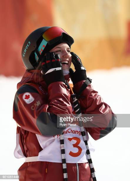 Cassie Sharpe of Canada reacts after her run during the Freestyle Skiing Ladies' Ski Halfpipe Final on day eleven of the PyeongChang 2018 Winter...