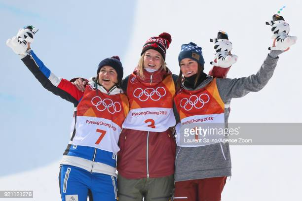 Cassie Sharpe of Canada takes 1st place Marie Martinod of France takes 2nd place Brita Sigourney of USA takes 3rd place during the Freestyle Skiing...