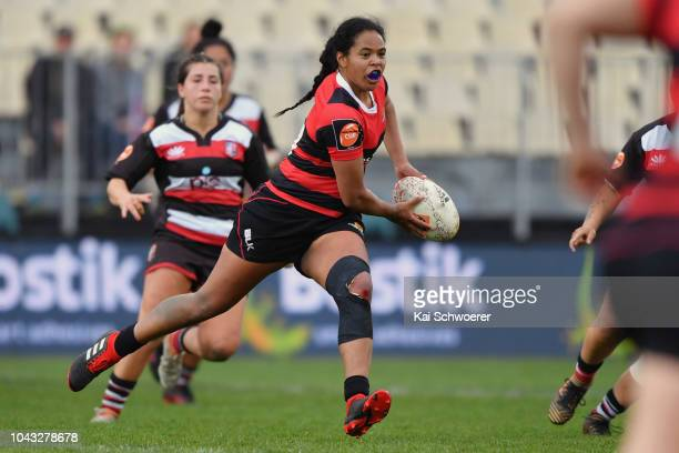 Cassie Siataga of Canterbury looks to pass the ball during the round five Farah Palmer Cup match between Canterbury and Counties Manukau at...