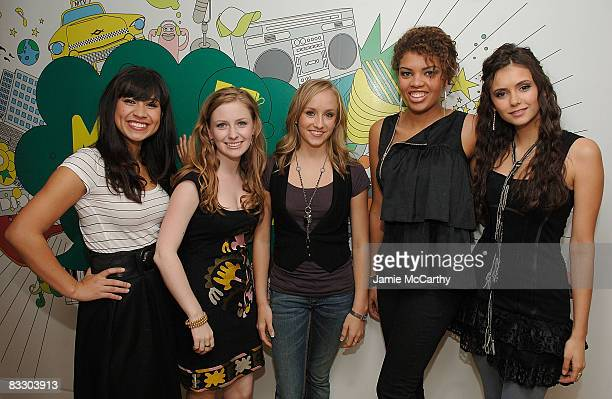 Cassie SteeleCharlotte ArnoldOlympic gold medalist Nastia LiukinSarah BarrableTishauer and Nina Dobrev of Degrassi visit MTV's TRL at the MTV studios...