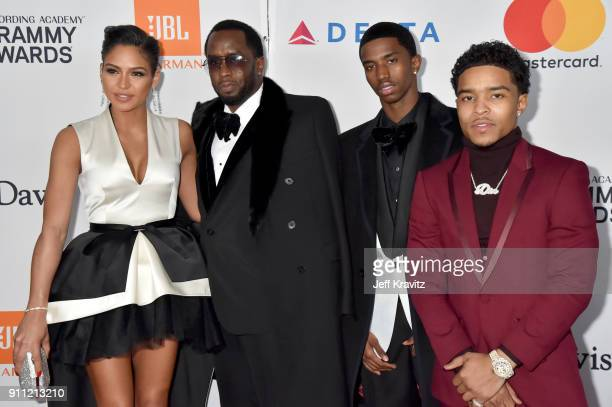 Cassie Ventura Sean Combs Christian Combs and Justin Dior Combs attend the Clive Davis and Recording Academy PreGRAMMY Gala and GRAMMY Salute to...