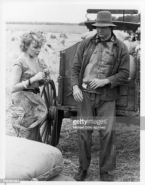 Cassie Yates stands with Randy Quaid in a scene from the television film 'Of Mice And Men' 1981