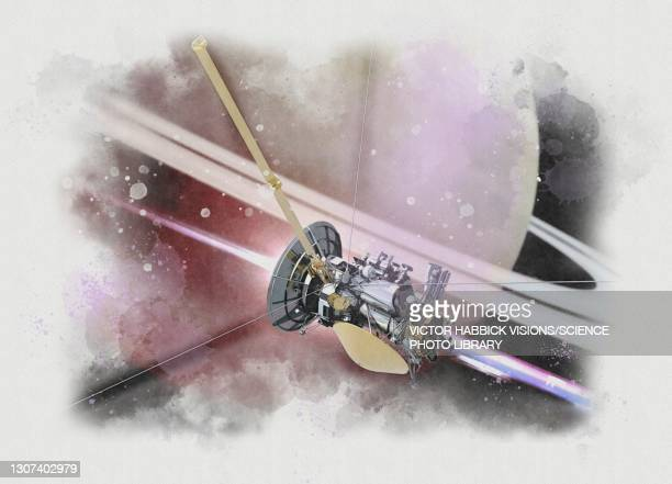 cassini spacecraft , illustration - space mission stock pictures, royalty-free photos & images