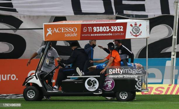 Cassio, goalkeeper of Corinthians leaves the field injured during the match against Goias as part of Brasileirao Series A 2020 at Neo Quimica Arena...