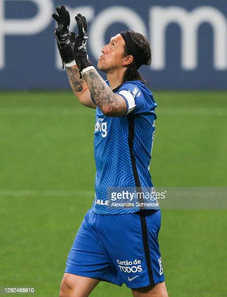 Cassio, goalkeeper of Corinthians prays during the match against Goias as part of Brasileirao Series A 2020 at Neo Quimica Arena on December 21, 2020...