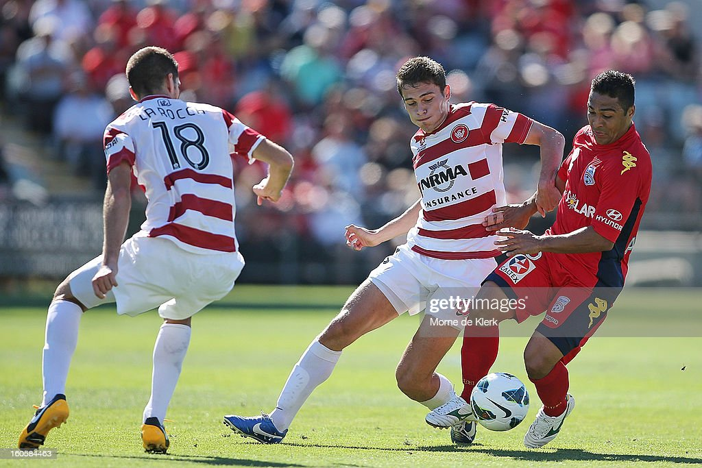 Cassio of Adelaide wins the ball during the round 19 A-League match between Adelaide United and the Western Sydney Wanderers at Hindmarsh Stadium on February 3, 2013 in Adelaide, Australia.