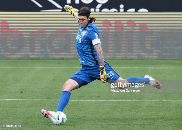 Cassio of Corinthians controls the ball during the match against Flamengo as part of Brasileirao Series A 2020 at Neo Quimica Arena on October 18,...