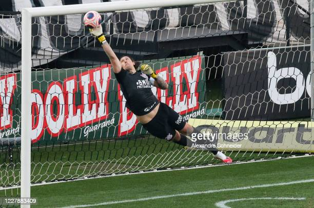 Cassio of Corinthians defends the goal during the match between Corinthians and Mirassol as part of the State Championship Semi-Final at Arena...