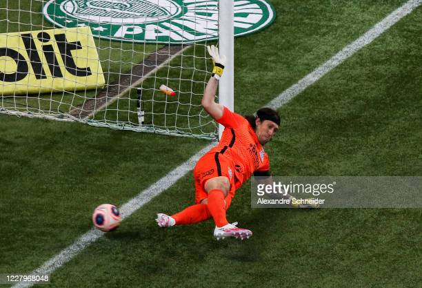 Cassio of Corinthians fails to defend a penalty kick during the match between Corinthians and Palmeiras as part of the State Championship Final at...