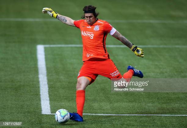 Cassio of Corinthians in action during the match against Palmeiras as part of Brasileirao Series A 2020 at Allianz Parque on January 18, 2021 in Sao...