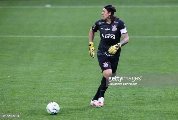 Cassio of Corinthians kicks the ball during the match against Bahia as part of Brasileirao Series A 2020 at Neo Quimica Arena on September 16, 2020...