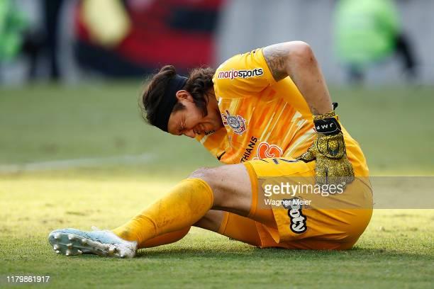 Cassio of Corinthians reacts at Maracana Stadium on November 3, 2019 in Rio de Janeiro, Brazil.