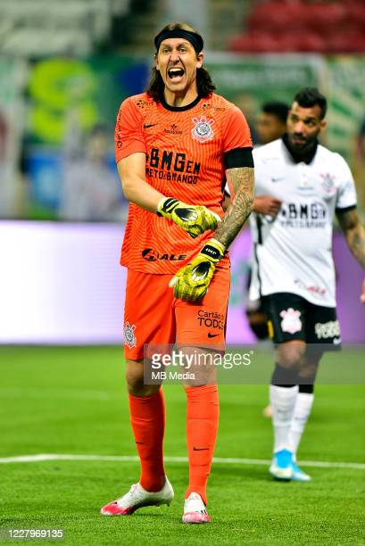 Cassio of Corinthians reacts ,during a match between Palmeiras and Corinthians as part of the second leg Match of the Sao Paulo State Championship...