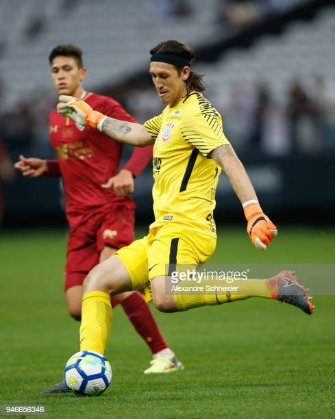 Cassio of Corinthinas in action during the match against Fluminense for the Brasileirao Series A 2018 at Arena Corinthians Stadium on April 15 2018...