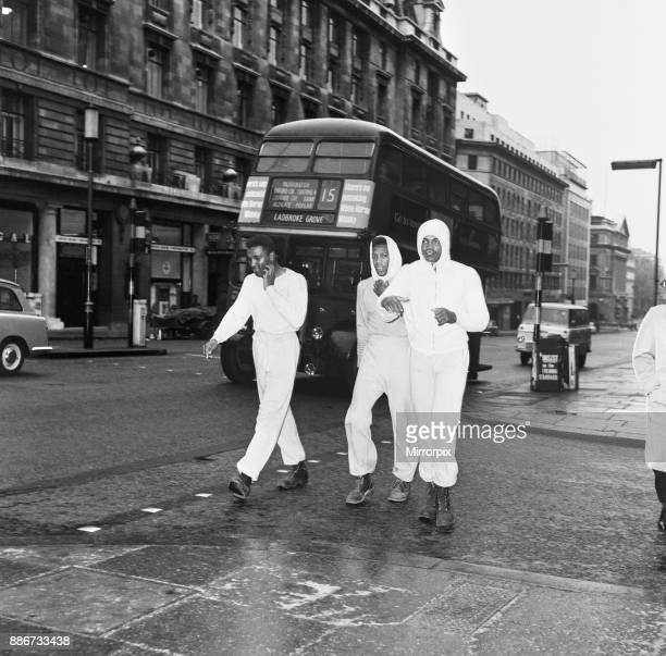 Cassius Clay aka Muhammad Ali training in The Mall London ahead of his first fight with Henry Cooper Clay left his room at 6am to train starting with...
