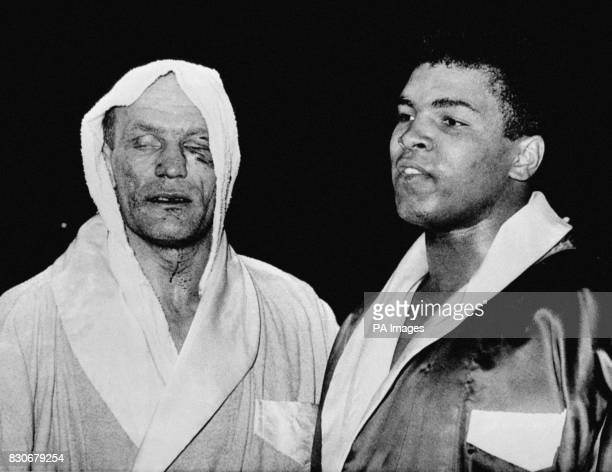 Cassius Clay and Henry Cooper after their fight at Wembley London Clay won after stopping Cooper in the fifth round despite being floored by the...