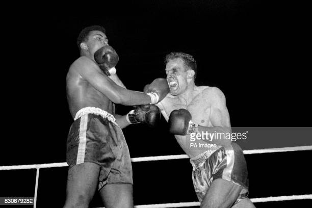Cassius Clay and Henry Cooper during their fight at Wembley London 18th June 1963 Clay won after stopping Cooper in the fifth round despite being...