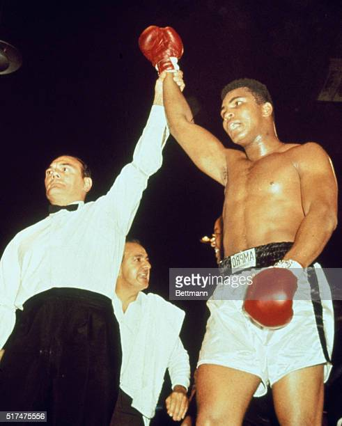 Cassius Clay following bout with British challenger Brian London. Clay retained heavyweight title after a knockout in the third round.