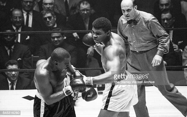 Cassius Clay in action throwing a lright vs Doug Jones during their heavyweight bout at Madison Square Garden New York New York March 13 1963